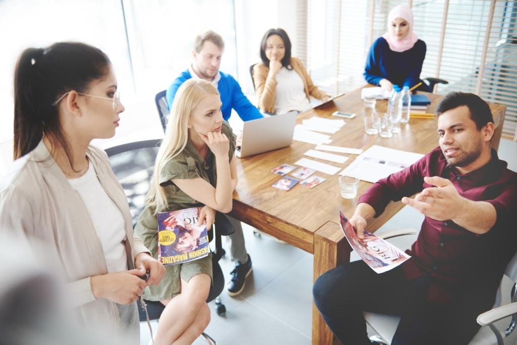 Top view of people having business meeting